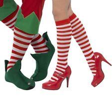 Unisex Christmas Fancy Dress Striped Socks Red/White Clown Wally Elf by Smiffys