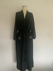 Vintage Chinese Dragon Embroidered Black Viscose Dressing Gown Kimono Large