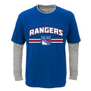 Reebok NHL Youth (8-20) New York Rangers Faux Layer Long Sleeve T-Shirt
