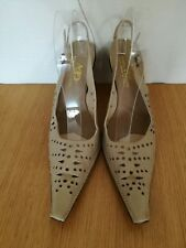 ANELLO & DAVIDE DESIGNER SHOES 7 40 HANDMADE ITALY TAN LEATHER HEELS VINTAGE NEW