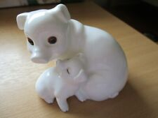 More details for royal osborne pig and piglet white gold china figurine ,one owner