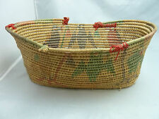 """Native American Weave Tray Basket. Very Nice Design. Approx 4.75"""" T x 10.5"""" Long"""