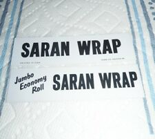 VINTAGE 1960s Dow Saran Wrap SHELF TALKER supermarket display signs Set of 2