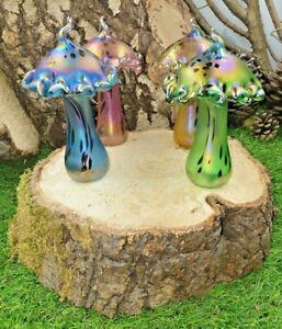 Neo Art Glass Handmade glass mushroom sculptures ornaments 4 colours by K.Heaton