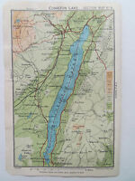 """CONISTON  LAKE DISTRICT BARTHOLOMEWS MAP 1"""" TO MILE DATED 1930 4""""x6in"""