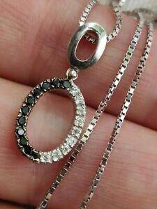 9 ct White gold necklace /1 mm box chain Italian & 18 ct white  gold pendant CZ