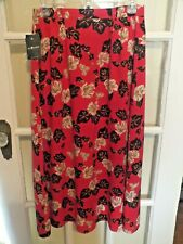 NEW Vintage Women's Sag Harbor Petite Size Small RED Rayon Floral MidCalf Skirt