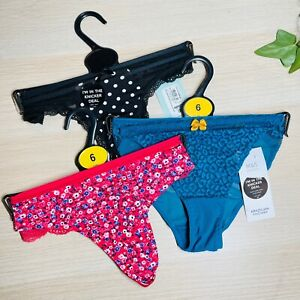 M&S + New Look Bundle Pack of 3 Sexy Knickers Thongs Strings + Brazilian 6 / XS