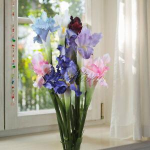 1/3 Artificial Silk Flowers iris Real Touch Fake Wedding Bouquet Home Vase Decor