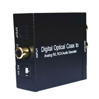 Digital Optical Coax to Analog RCA L/R Audio Converter Decoder with Cable