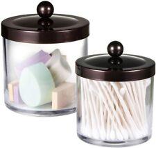 Premium Quality Plastic Apothecary Jars - Qtip Holder Bathroom Vanity Countertop