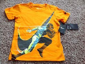 NIKE Boy Cotton Shirt Sie 4 6 Orange Football New
