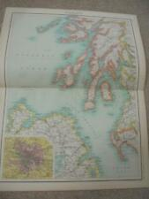 MAP c1900 SCOTLAND GLASGOW FIRTH OF CLYDE BARTHOLOMEW ATLAS COLOUR LITHOGRAPH