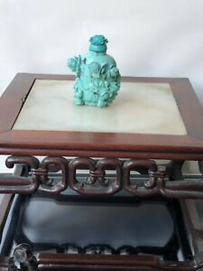 antique chinese turquoise hand carved snuff bottle 19th qing dynasty