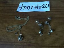 Authentic Black Gold Chanel Pearl Flower Camellia Earrings Pendant Necklace Set
