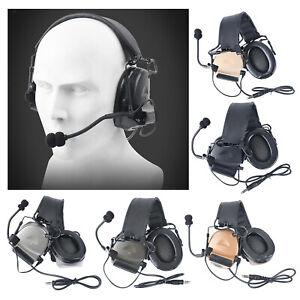 Tactical Communication Headset Mic Hunting Shooting Headphone Earmuffs for PTT