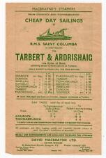 Handbill for MacBrayne's Steamer Sailings by RMS Saint Columba, 1955 (C29413)