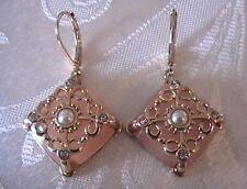 Avon Belle & Blush Square Earrings - Pink w/ Gold Tone Embellishment Faux Stones