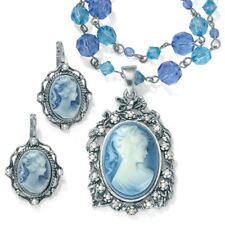 Simulated Pearl & Lucite Cameo 2-Pc. Set Antiqued Silvertone