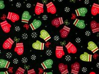 FAT QUARTER STITCHED MITTENS & SNOWFLAKES  WINTER HOLIDAY 100% COTTON FABRIC  FQ