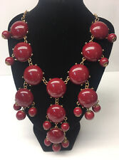Cranberry Red Bubble Bead Necklace w/Gold Tone Chain