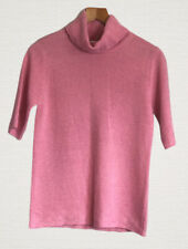Gerry Weber Jumper Size 10 Merino & Cashmere Blend Baby Pink Fine Knit Polo Neck