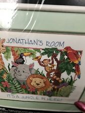 Dimensions Stamped Cross Stitch kit Its a Jungle in Here 3128 it's animals kids