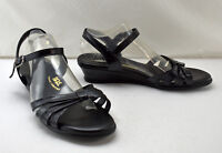 SAS Tripad Comfort Strappy Black Leather Ankle Strap Sandals - Women's 8.5 W