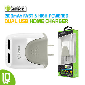 Universal High Power 10Watt 2.1 Amp Dual USB Home Travel Wall Charger for Phones