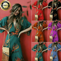 New Women Wrap Summer Boho Floral Paisley Maxi Print Dress Ladies Holiday Beach