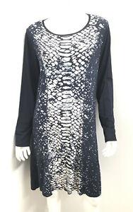 New! MAGG & ME Blue print rayon jersey dress ~ sz 14 16