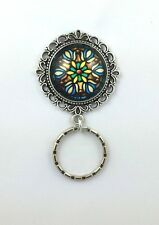 Stained Glass Magnetic Badge Eyeglass Holder, Magnetic Pin Brooch,  Design #3