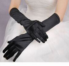 BLACK SATIN OPERA STRETCH EVENING GLOVES/Pageant/Elbow/CROSSDRESSER/DRAG QUEEN