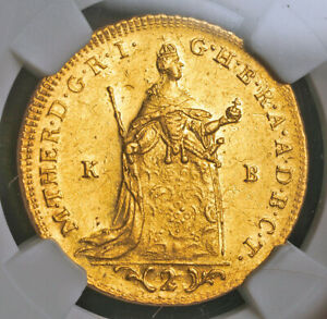 1765, Kingdom of Hungary, Maria Theresa. Gold 2 Ducats Coin. (6.96gm!) NGC AU58!