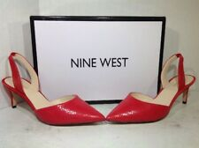 Nine West Womens Size 7.5 Stark Red Leather Casual Slingback Heels Shoes ZU-537