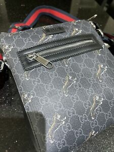 Pre-loved Gucci Bestiary Small Messenger Crossbody Bag With Tigers.
