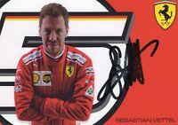 Handsignierte Autogrammkarte Sebastian Vettel Ferrari Weltmeister Formel 1