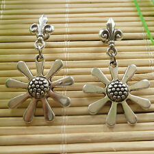 48pairs Woman's tibet silver sunflower charms Earrings 37x22mm ZH826