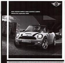 Mini Cabriolet Specification 2009-10 German Market Brochure Cooper & Cooper S