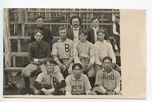 Boyd WI Baseball Team 1906 RPPC Real Photo Postcard