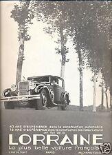 1933 -   Publicité Automobile : LORRAINE
