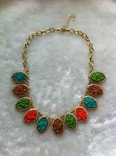 Vintage Gold Tone Chain Teardrop Irregular Neon Resin Bib Necklace