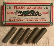 NATIONAL FIREWORKS Flash Salutes Electric Dragon 1920's FIRECRACKER Box W/ Tubes