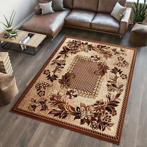 Small Medium Extra Large Rug Designer Carpet Floral Pattern Beige Short Pile