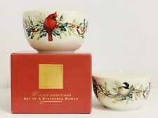 Lenox WINTER GREETINGS STACKABLE BOWLS WITH LIDS Set of 2 New