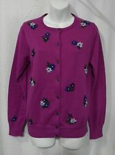 Land's End Size S 6-8 Button Front Long Sleeve Sweater with Floral Embroidery
