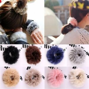 Fashion Women Fluffy Faux Fur Furry Scrunchie Elastic Hair Ring Rope Band Tie 2H