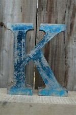 MEDIUM VINTAGE STYLE 3D BLUE K SHOP SIGN LETTER TIN WALL ART LETTER FONT 8 INCH