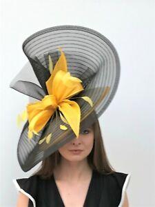 Yellow,  Black, White Large Hatinator / Fascinator - Wedding, Ascot, Races