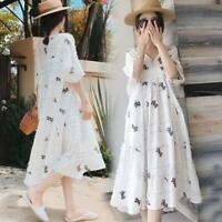 2019 Summer Maternity Dresses Cotton Linen Women Pregnant Mother Loose Clothing